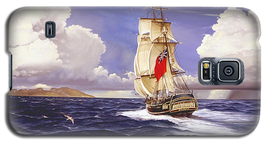 Marine Galaxy S5 Case featuring the painting H. M. S. Bounty At Tahiti by Marc Stewart