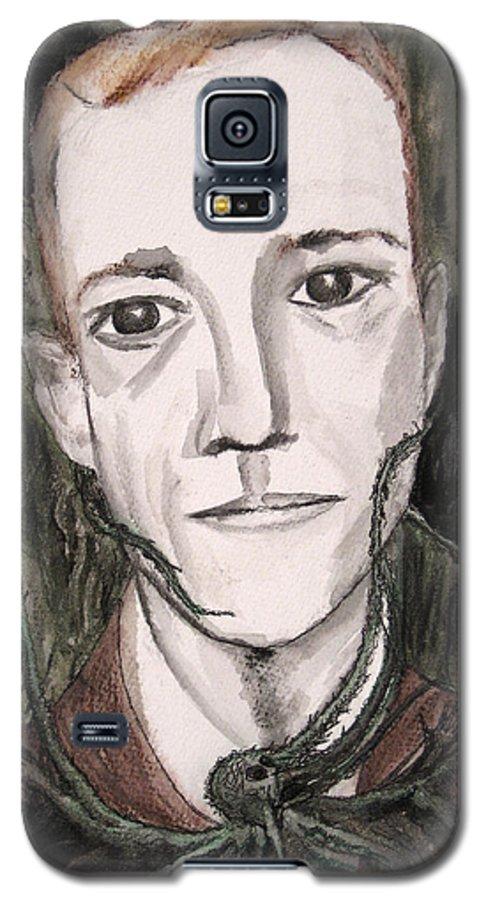 Artist Cthulhu Darkest Darkestartist Fiction H Horror Hp Lovecraft Macabre Man Mythos P Painting Por Galaxy S5 Case featuring the painting H P Lovecraft by Darkest Artist