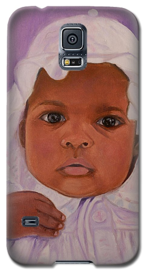 Haiti Galaxy S5 Case featuring the painting Haitian Baby Orphan by Quwatha Valentine