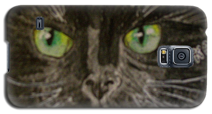 Halloween Galaxy S5 Case featuring the painting Halloween Black Cat I by Kathy Marrs Chandler