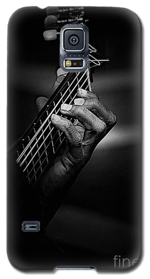 Guitar Galaxy S5 Case featuring the photograph Hand Of A Guitarist In Monochrome by Avalon Fine Art Photography
