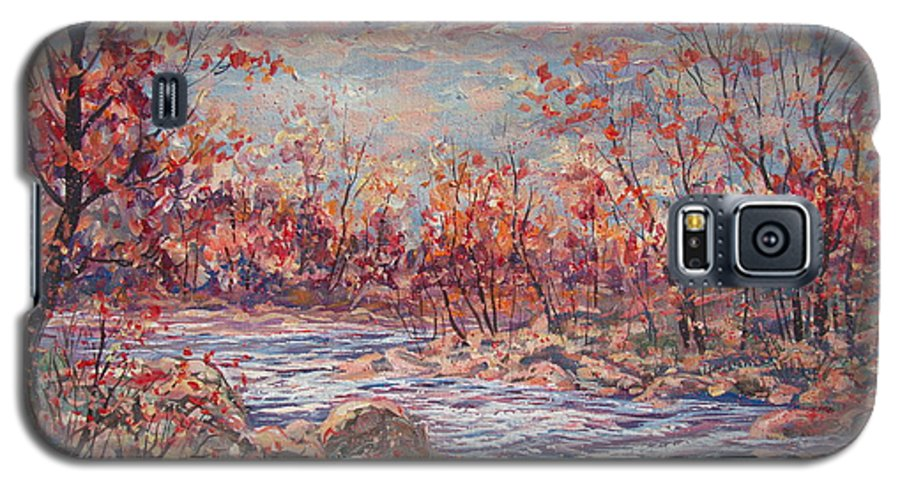 Landscape Galaxy S5 Case featuring the painting Happy Autumn Days. by Leonard Holland