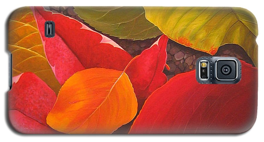 Autumn Leaves Galaxy S5 Case featuring the painting Happy Landings by Hunter Jay