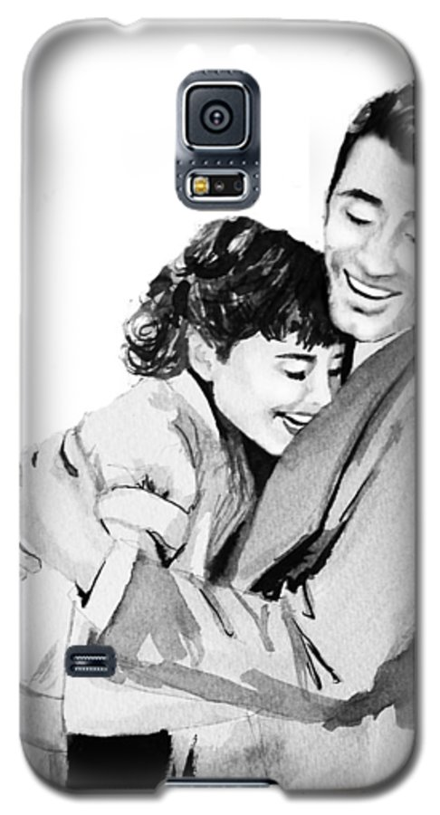 Hug Galaxy S5 Case featuring the painting Happy by Laura Rispoli