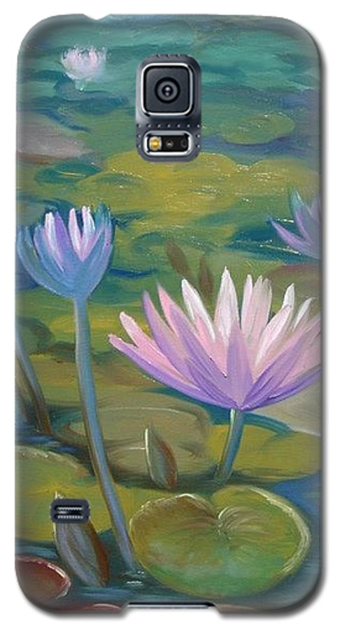 Pond Galaxy S5 Case featuring the painting Happy Lilies by Tan Nguyen