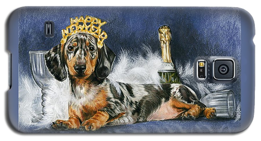 Dog Galaxy S5 Case featuring the mixed media Happy New Year by Barbara Keith