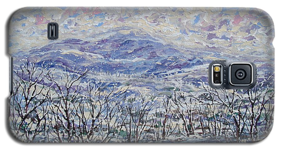 Landscape Galaxy S5 Case featuring the painting Happy Winter. by Leonard Holland