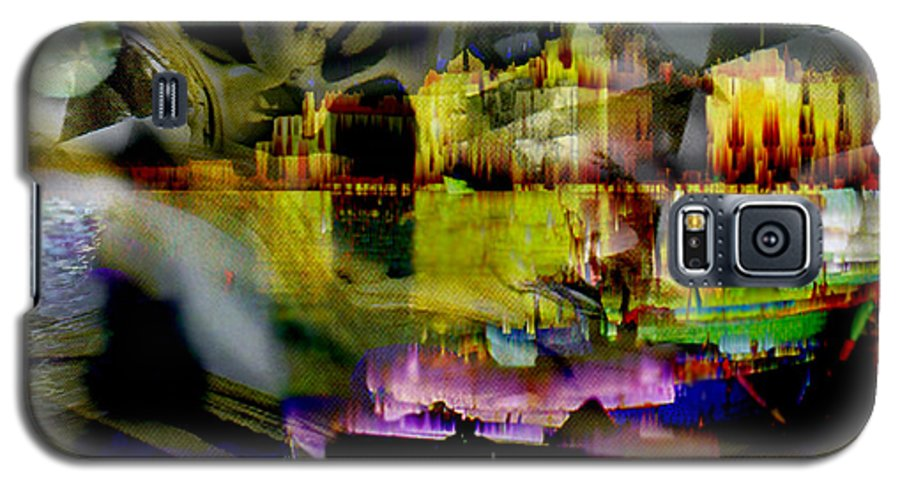 European Galaxy S5 Case featuring the digital art Harbor Scene Through A Vodka Bottle by Seth Weaver