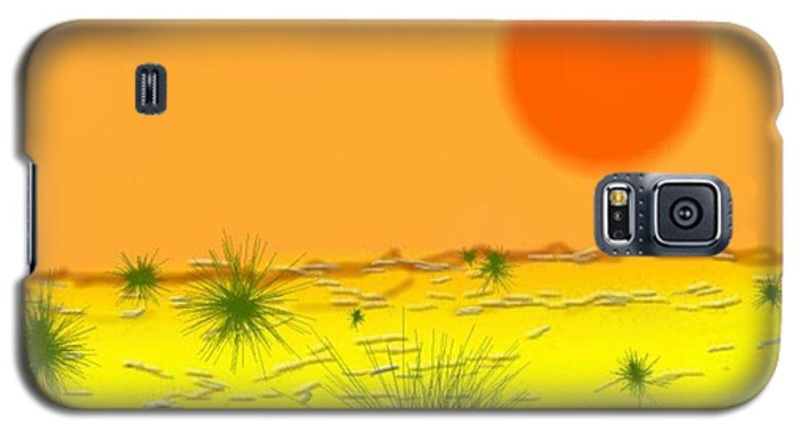 Sky.sun.desert.sand.heat.rare Bushes Of The Prickle.dust.dry. Galaxy S5 Case featuring the digital art Hard Sun Of Desert by Dr Loifer Vladimir