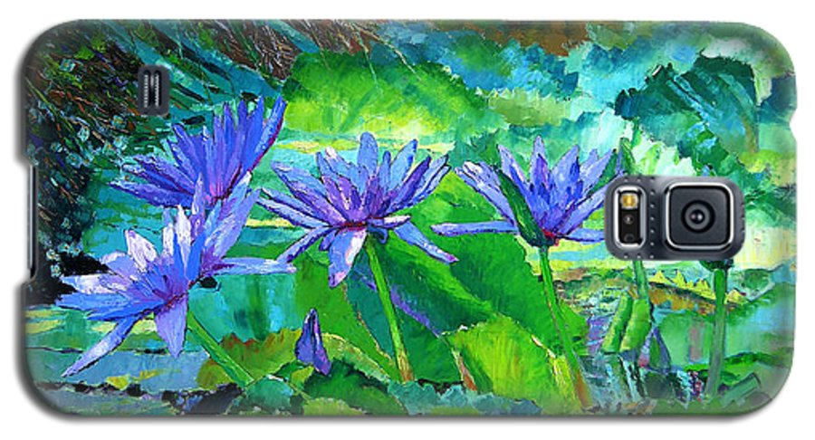 Purple Water Lilies Galaxy S5 Case featuring the painting Harmony Of Purple And Green by John Lautermilch