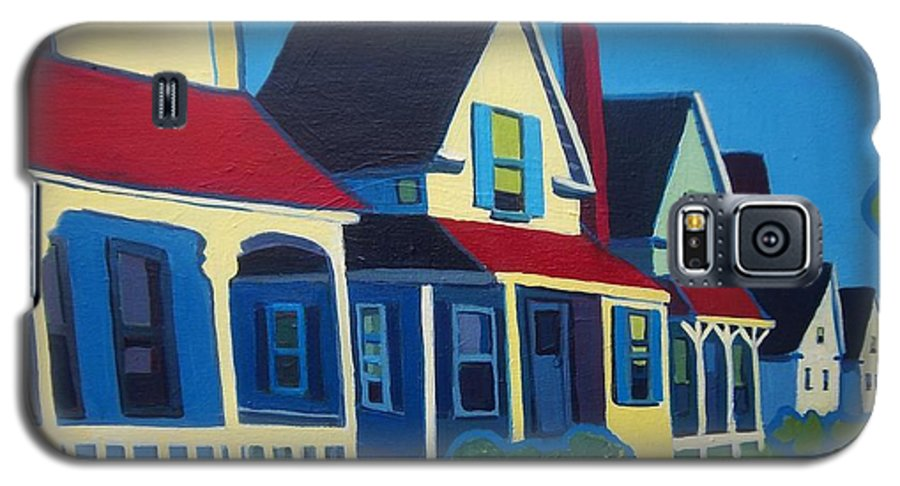 Maine Galaxy S5 Case featuring the painting Harpswell Cottages by Debra Bretton Robinson