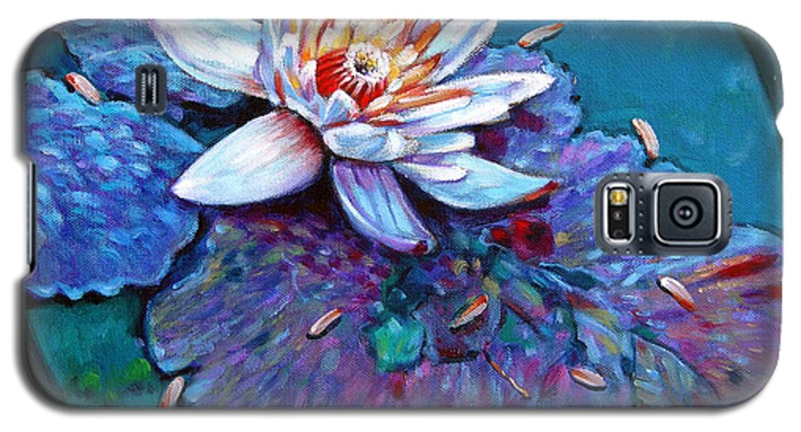 Water Lily Galaxy S5 Case featuring the painting Harvest Moon by John Lautermilch