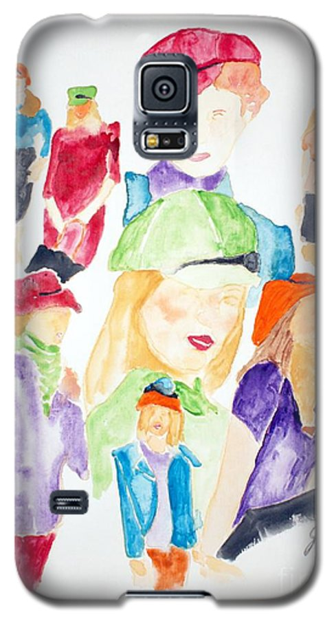 Hats Galaxy S5 Case featuring the painting Hats by Shelley Jones