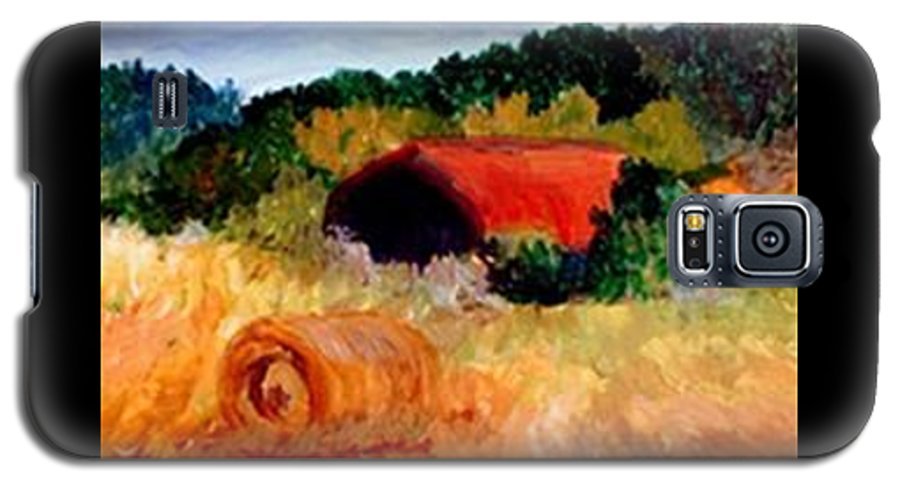 Hayrolls Galaxy S5 Case featuring the painting Hayrolls by Gail Kirtz