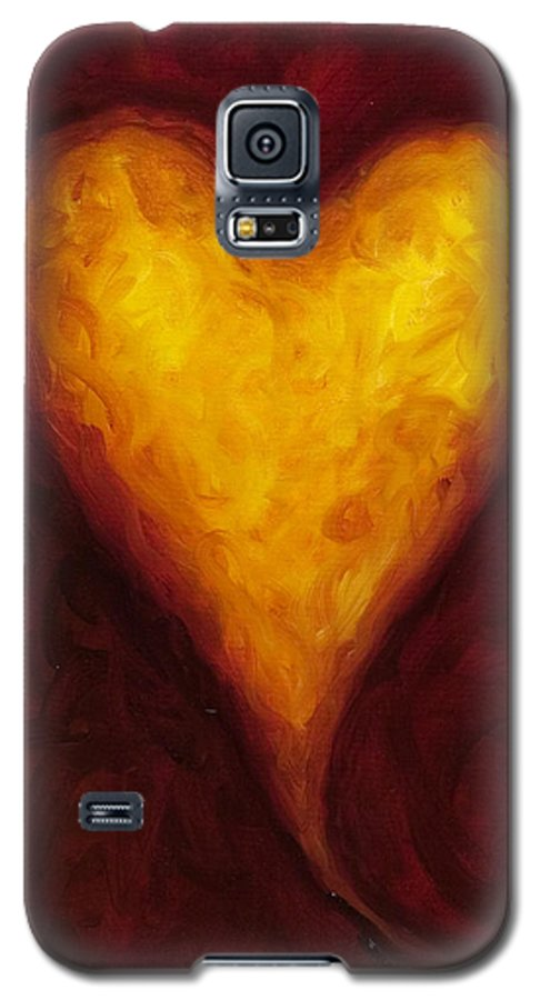 Heart Galaxy S5 Case featuring the painting Heart Of Gold 1 by Shannon Grissom