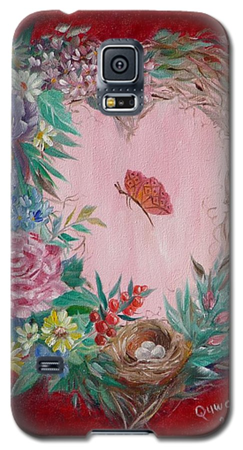 Heart Galaxy S5 Case featuring the painting Heart Wreath by Quwatha Valentine