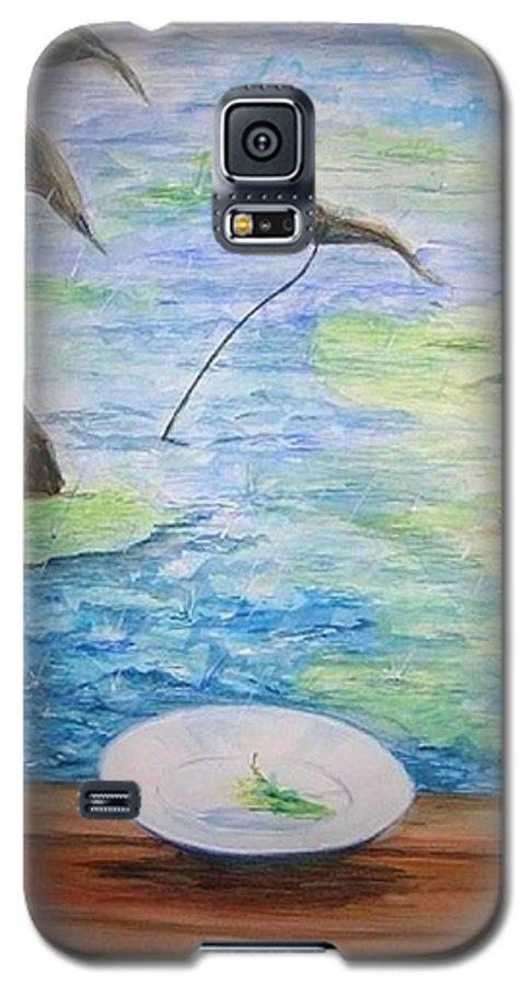 Feng Shui Study Galaxy S5 Case featuring the painting Heaven Sent Gentle Rain by Lizzy Forrester