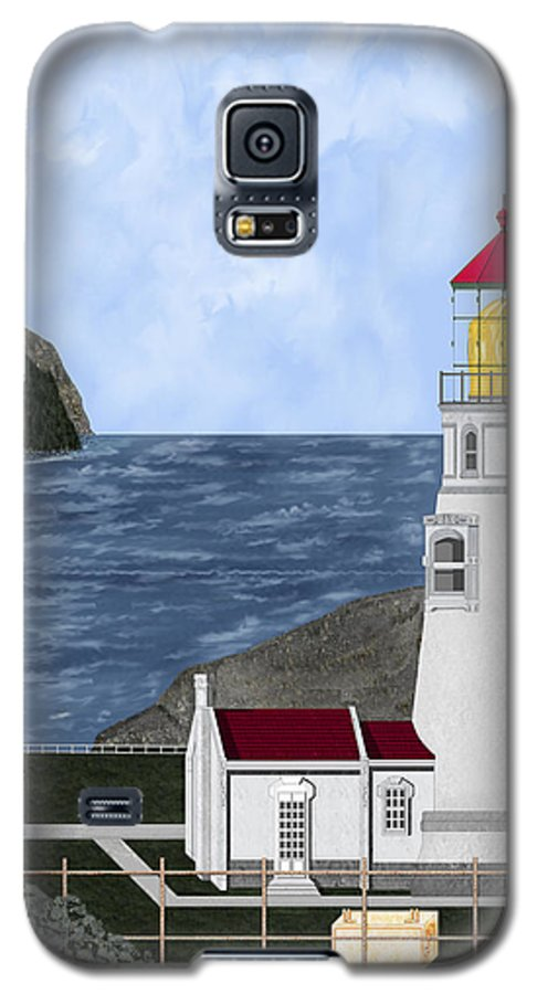 Lighthouse Galaxy S5 Case featuring the painting Heceta Head Oregon by Anne Norskog
