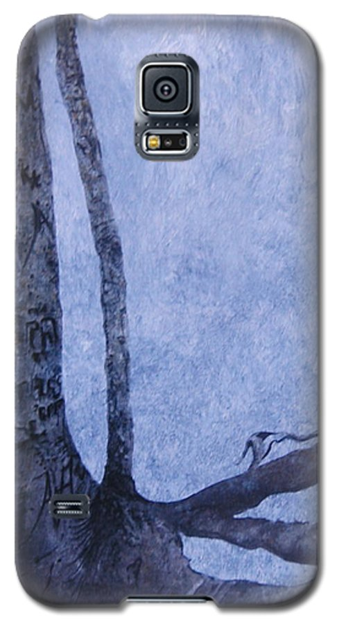 Tree Trunk Galaxy S5 Case featuring the painting Hedden Park II by Leah Tomaino
