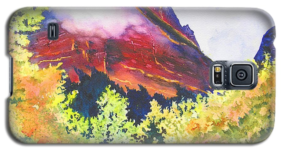 Mountain Galaxy S5 Case featuring the painting Heights Of Glacier Park by Karen Stark