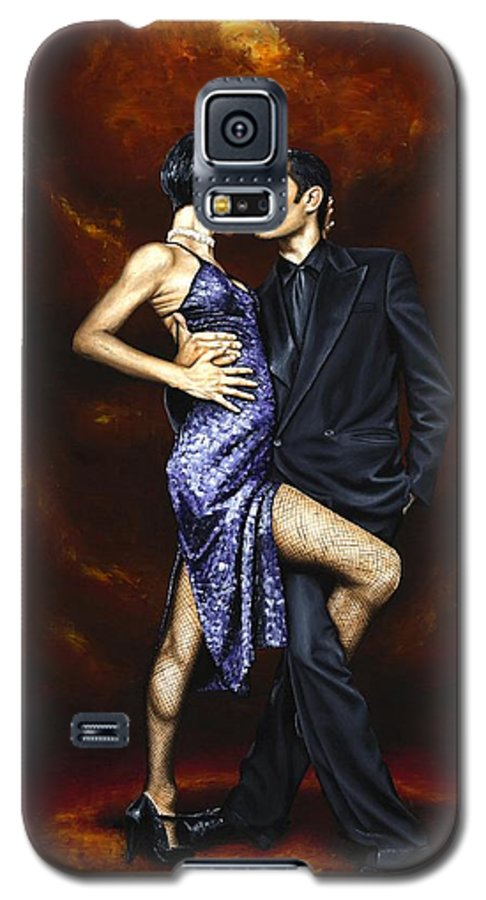 Tango Dancers Love Passion Female Male Woman Man Dance Galaxy S5 Case featuring the painting Held In Tango by Richard Young