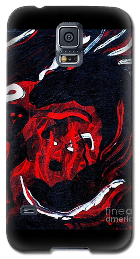 Horse Woman Red Black Silver Galaxy S5 Case featuring the painting Hell Beast by Dawn Downour