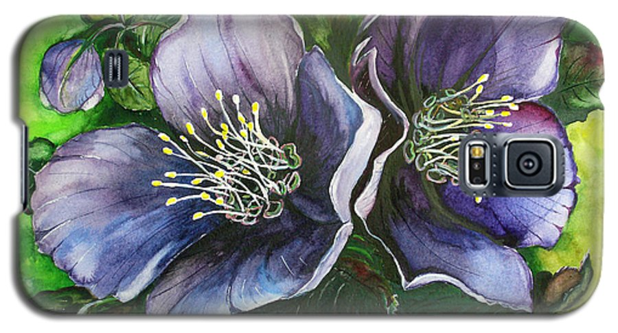 Flower Painting Botanical Painting Original W/c Painting Helleborous Painting Galaxy S5 Case featuring the painting Helleborous Blue Lady by Karin Dawn Kelshall- Best