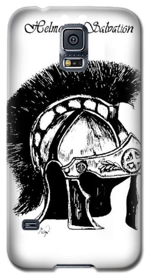 Helmet Galaxy S5 Case featuring the drawing Helmet Of Salvation by Maryn Crawford