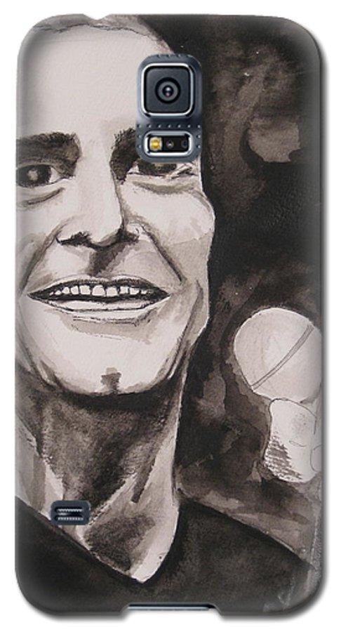 Author Black Darkestartist Flag Henry Ink Musician Panting Portrait Rollins Spoken Watercolor Darkest Artist Galaxy S5 Case featuring the painting Henry Rollins by Darkest Artist