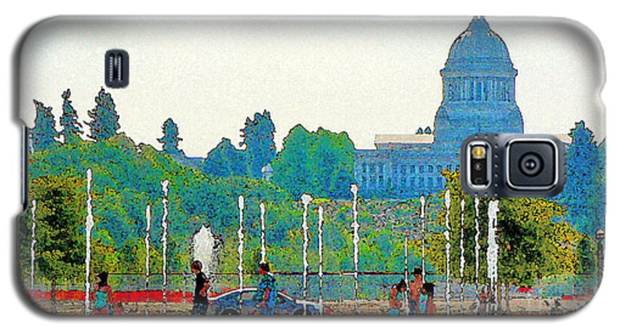 Park Galaxy S5 Case featuring the photograph Heritage Park Fountain by Larry Keahey