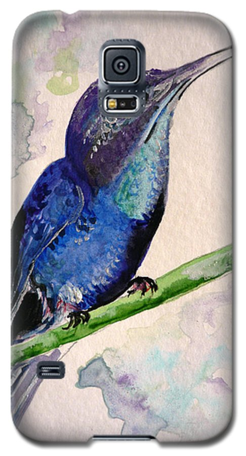 Hummingbird Painting Bird Painting Tropical Caribbean Painting Watercolor Painting Galaxy S5 Case featuring the painting hHUMMINGBIRD 2  by Karin Dawn Kelshall- Best