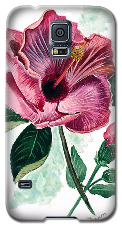Flora Painting L Hibiscus Painting Pink Flower Painting Greeting Card Painting Galaxy S5 Case featuring the painting Hibiscus Dusky Rose by Karin Dawn Kelshall- Best