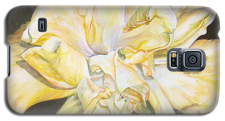 Floral Painting Galaxy S5 Case featuring the painting Hibiscus Jaune by Muriel Dolemieux