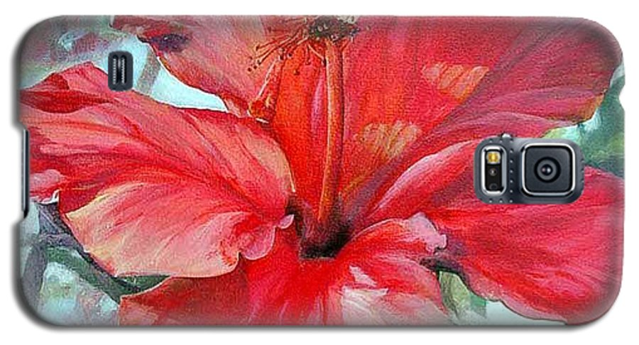 Floral Painting Galaxy S5 Case featuring the painting Hibiscus Rouge by Muriel Dolemieux