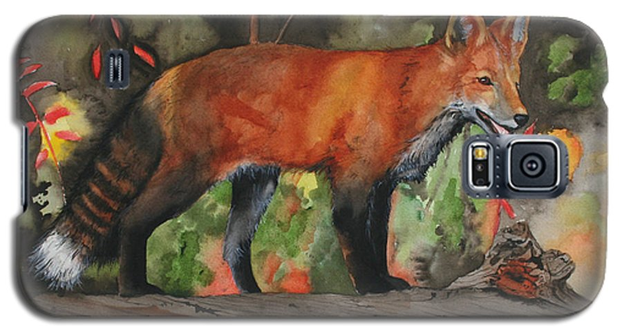 Fox Galaxy S5 Case featuring the painting Hiding In Plain Sight by Jean Blackmer