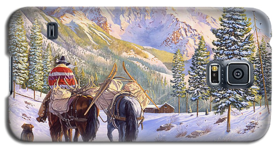 Horses Galaxy S5 Case featuring the painting High Country by Howard Dubois