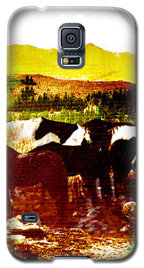 Mustangs Galaxy S5 Case featuring the digital art High Plains Horses by Seth Weaver