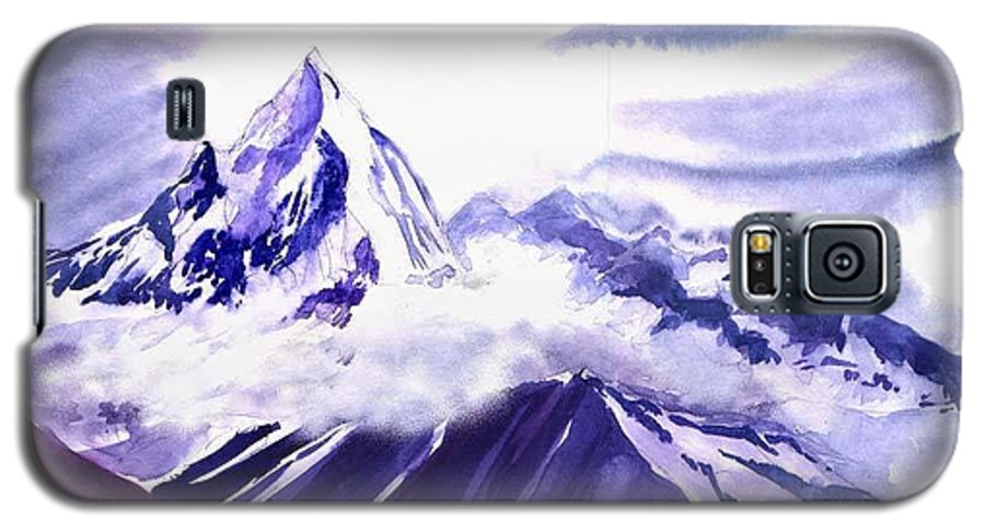Landscape Galaxy S5 Case featuring the painting Himalaya by Anil Nene
