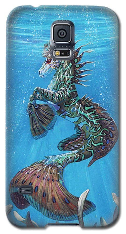 Seahorse Galaxy S5 Case featuring the painting Hippocampus by Stanley Morrison