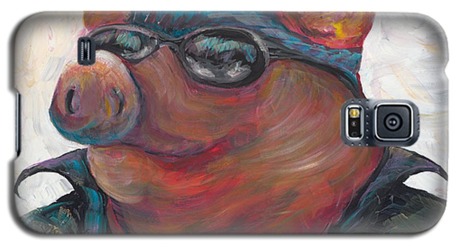Hog Galaxy S5 Case featuring the painting Hogley Davidson by Nadine Rippelmeyer