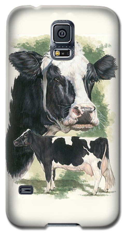 Cow Galaxy S5 Case featuring the mixed media Holstein by Barbara Keith