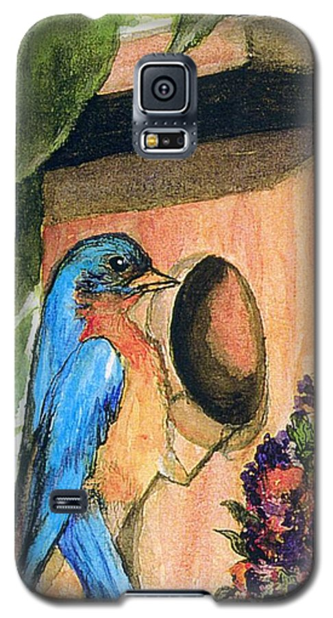 Bluebirds Galaxy S5 Case featuring the painting Home Sweet Home by Gail Kirtz