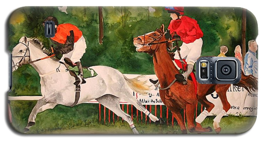 Racing Galaxy S5 Case featuring the painting Homestretch by Jean Blackmer