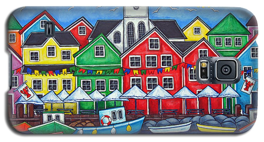 Boats Canada Colorful Docks Festival Fishing Flags Green Harbor Harbour Galaxy S5 Case featuring the painting Hometown Festival by Lisa Lorenz