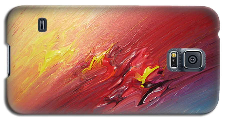Abstract Galaxy S5 Case featuring the painting Honeymoon Bliss - A by Brenda Basham Dothage