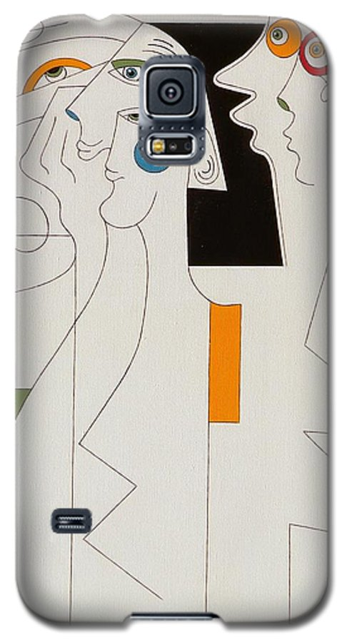 Horror People Eyes Modern Humor White Galaxy S5 Case featuring the painting Horror by Hildegarde Handsaeme