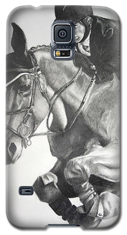 Horse Galaxy S5 Case featuring the drawing Horse And Jockey by Darcie Duranceau