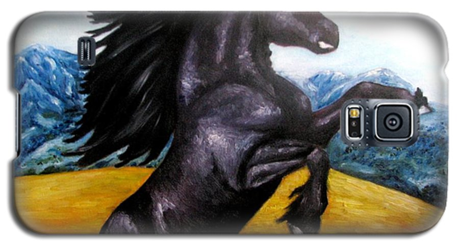 Horse Galaxy S5 Case featuring the painting Horse Oil Painting by Natalja Picugina