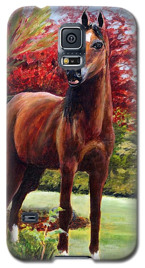 Horse Galaxy S5 Case featuring the painting Horse Portrait by Eileen Fong