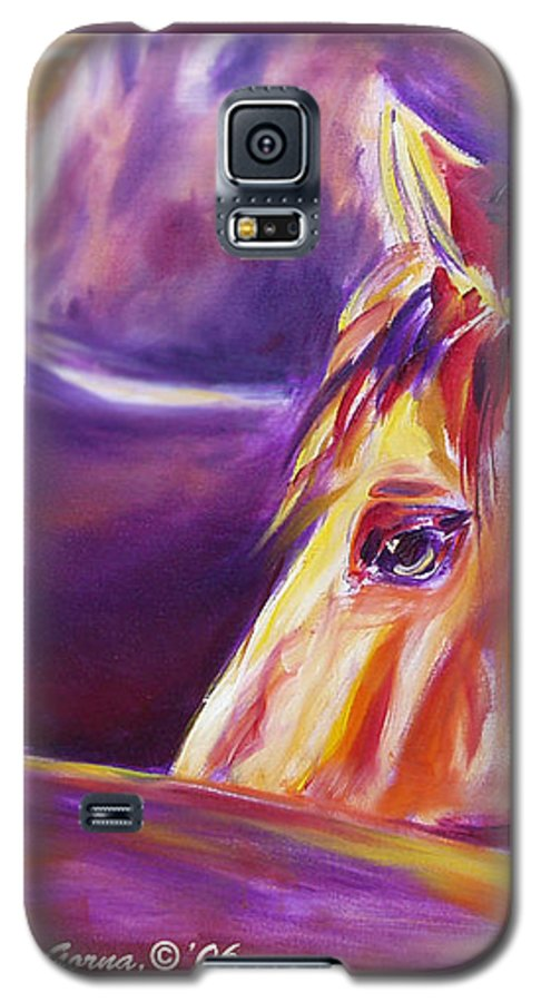 Horses Galaxy S5 Case featuring the painting Horse World Detail by Gina De Gorna